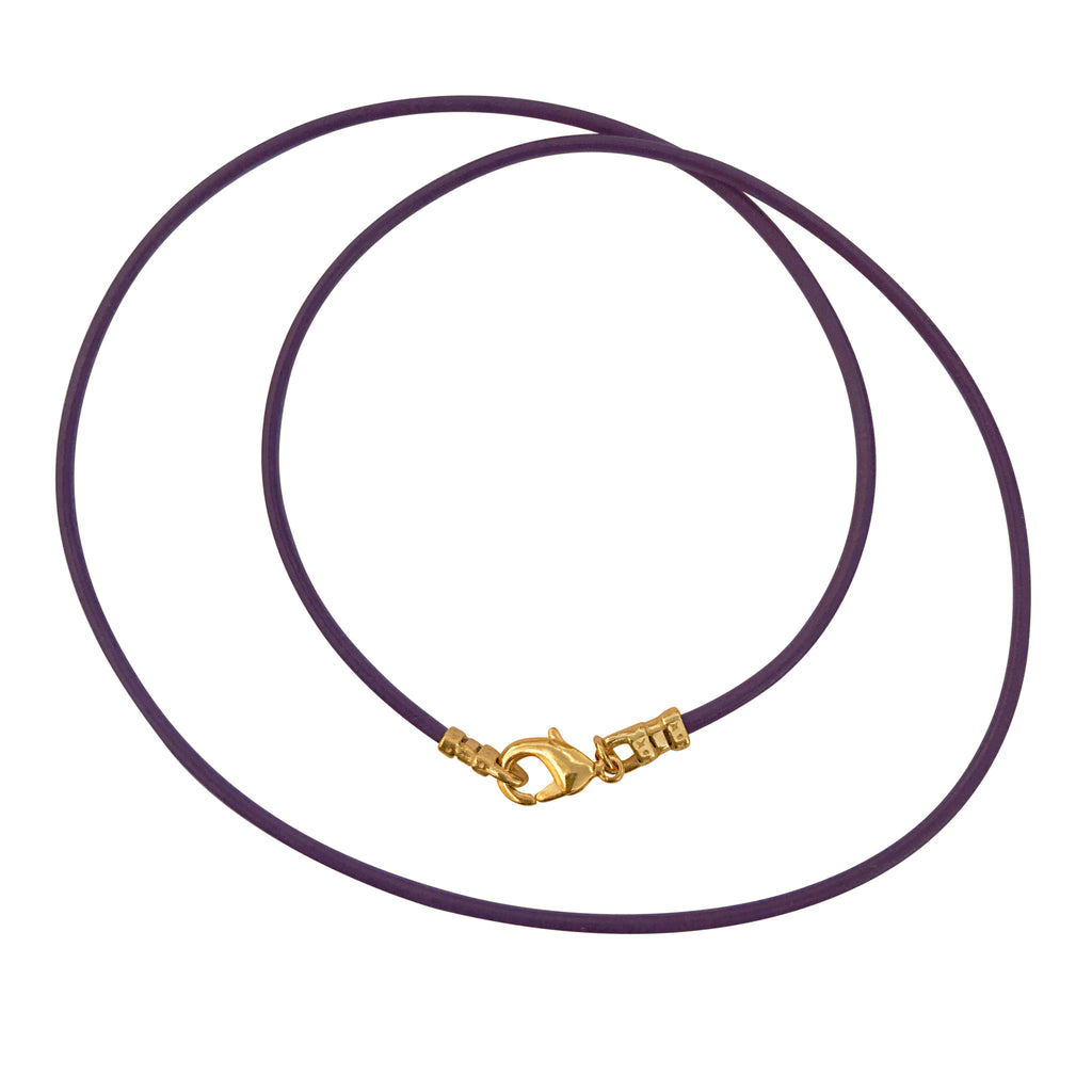 Gold Plated 1.8mm Fine Purple Leather Cord Necklace