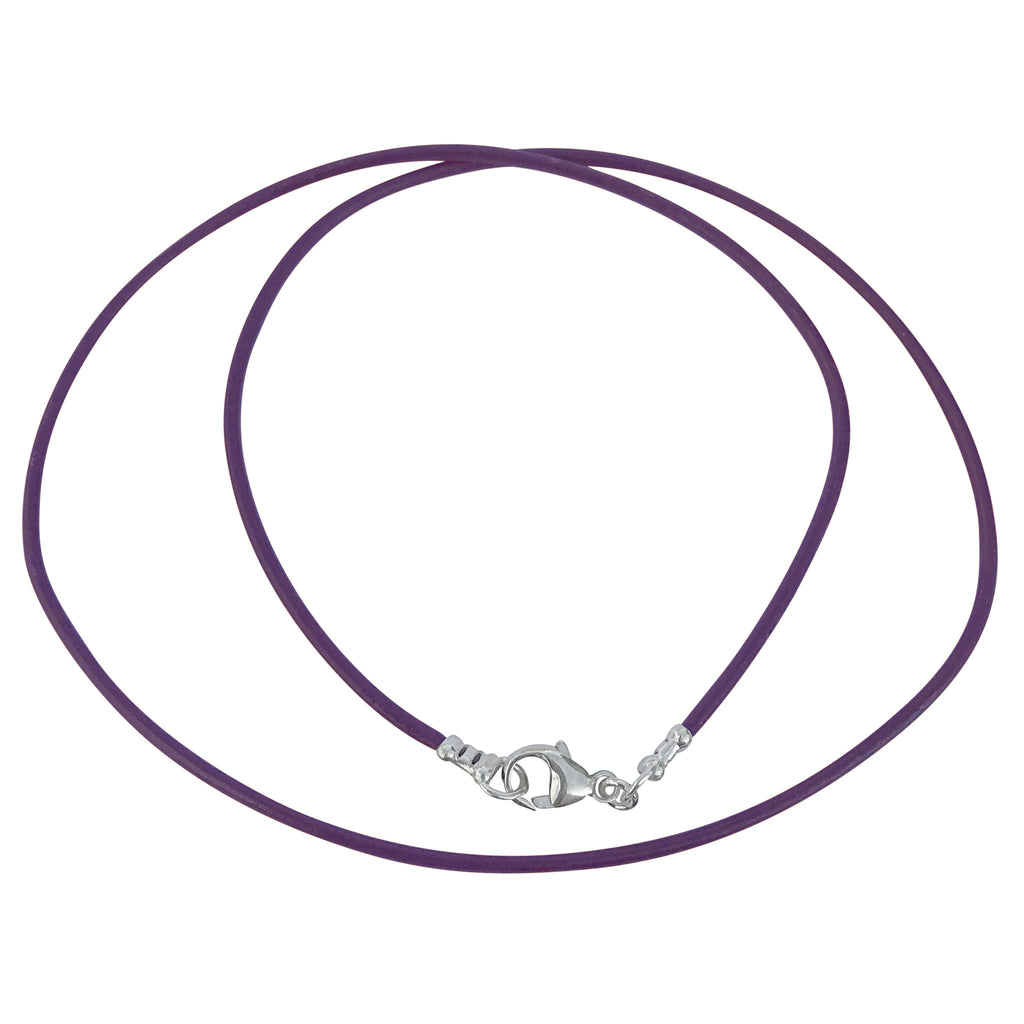 Sterling Silver 1.8mm Fine Purple Leather Cord Necklace