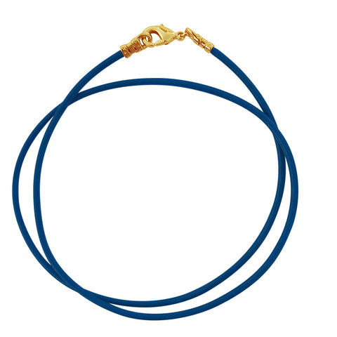 Gold Plated 1.8mm Fine Sky Blue Leather Cord Necklace