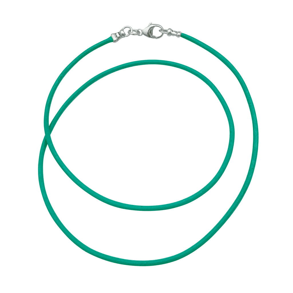 Sterling Silver 1.8mm Fine Turquoise Leather Cord Necklace