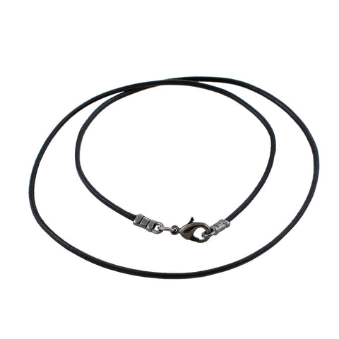 Gunmetal 1.8mm Fine Black Leather Cord Necklace