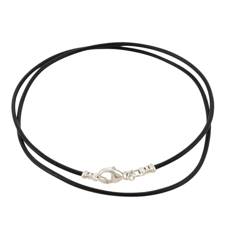 Sterling Silver 1.8mm Fine Black Leather Cord Necklace