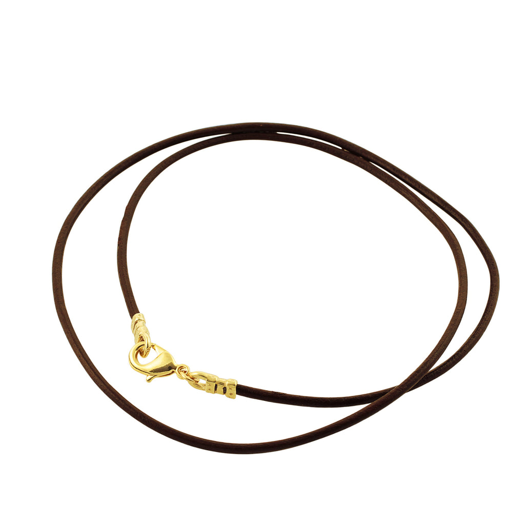 Gold Plated 1.8mm Fine Brown Leather Cord Necklace