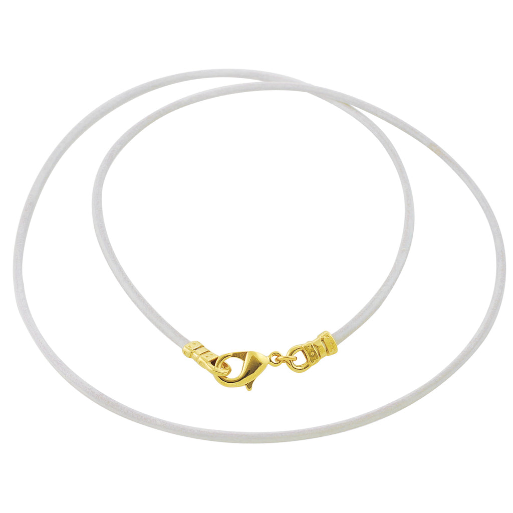 Gold Plated 1.8mm Fine White Leather Cord Necklace