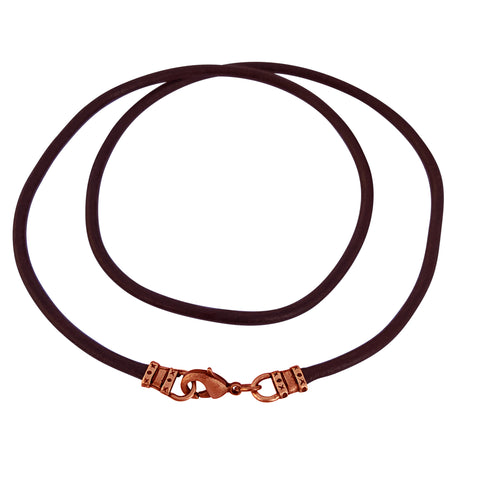 Antique Copper 3mm Thick Brown Leather Cord Necklace