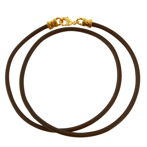 Gold Plated 3mm Thick Brown Leather Cord Necklace