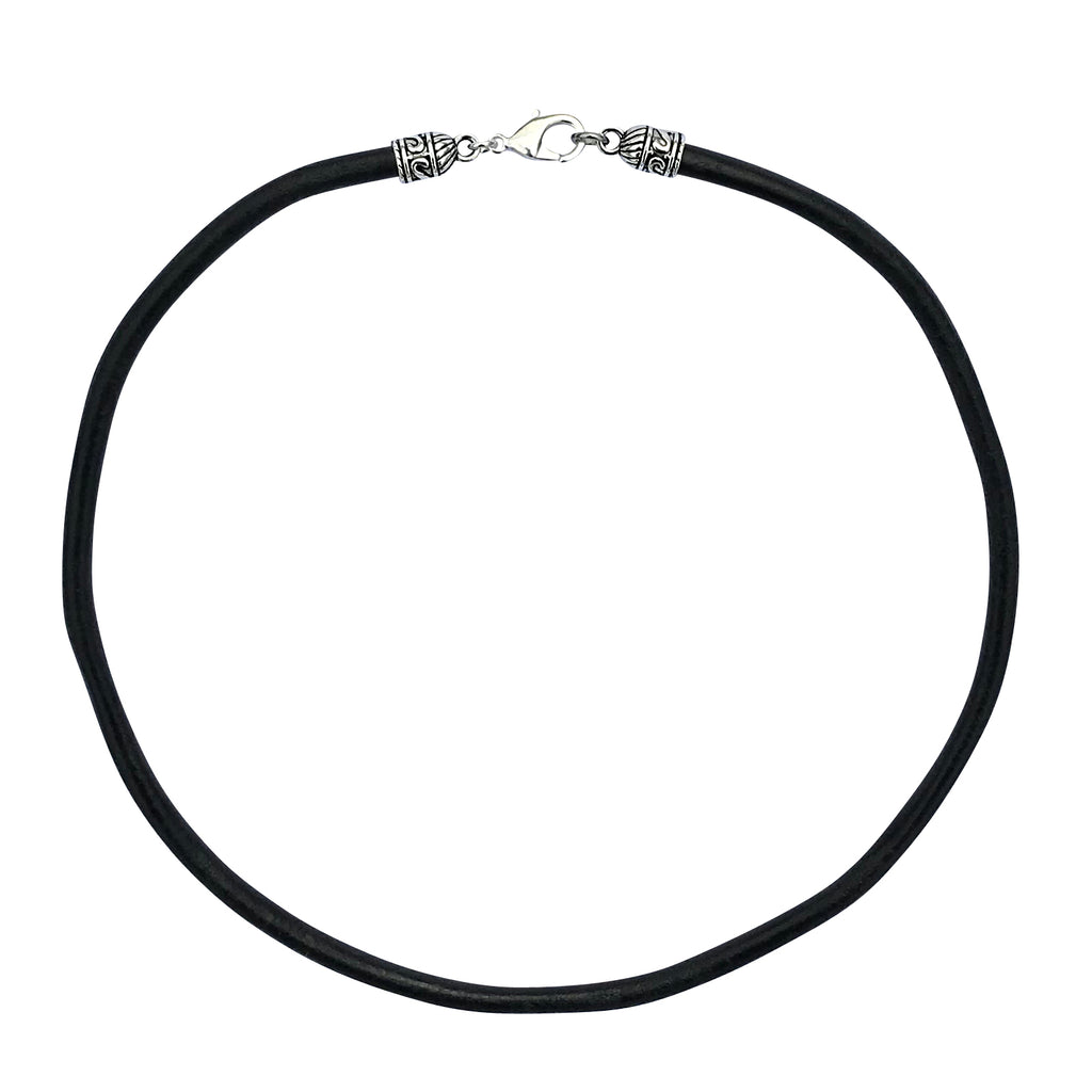 Extra Thick 5mm Wide Black Leather Cord Silver Mens Necklace