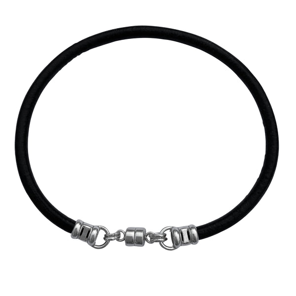 Thick 3mm Wide Mens Black Leather Bracelet with Sterling Silver Magnetic Clasp