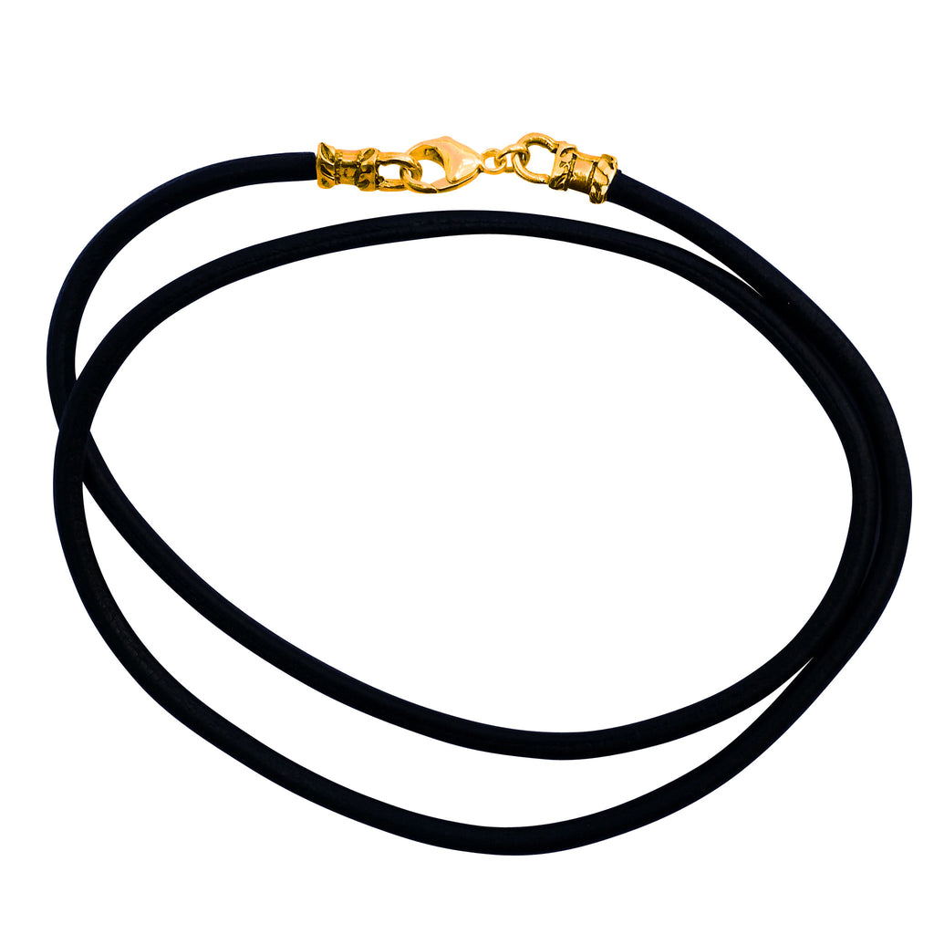 Gold Plated 3mm Thick Black Leather Cord Necklace
