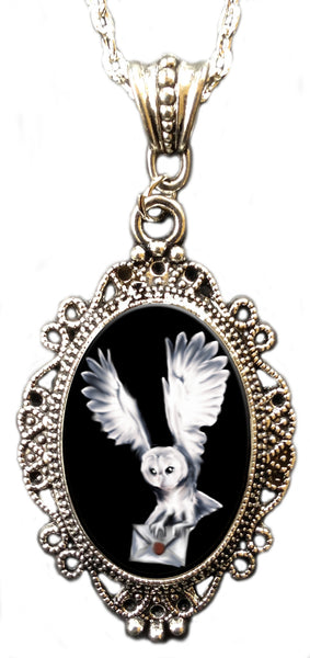 Alkemie Harry Potter's White Owl Hedwig Cameo Pendant Necklace