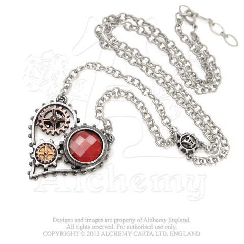 Coeur du Moteur Steampunk Heart Necklace Alchemy Gothic