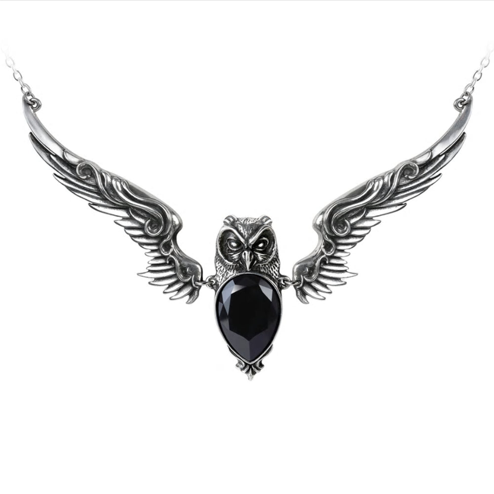 Stryx Black Crystal Owl Necklace by Alchemy Gothic