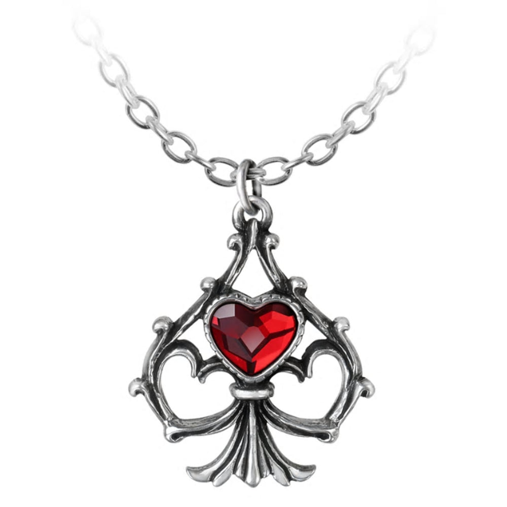 Lucky In Love Red Crystal Heart Pendant Necklace by Alchemy Gothic