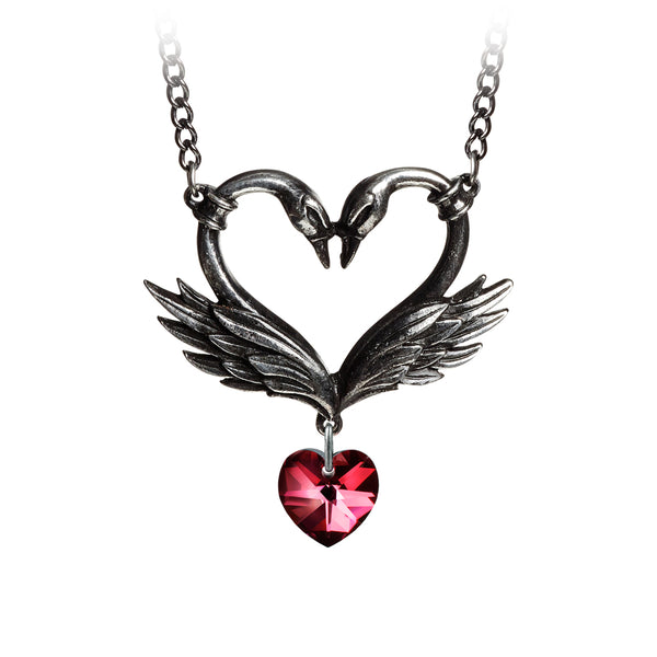 The Black Swan Romance Necklace, Red Crystal Heart, Alchemy Gothic