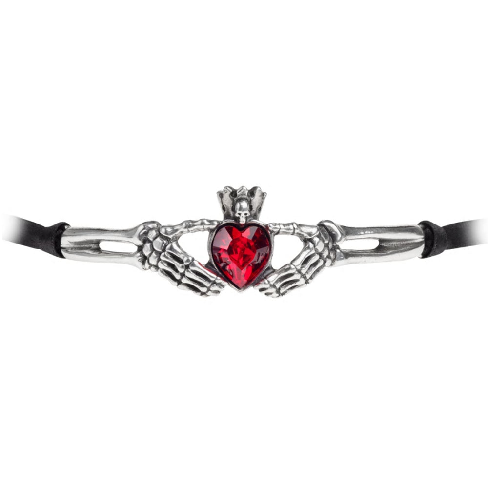 Claddagh By Night Red Heart Choker Ribbon Necklace by Alchemy Gothic
