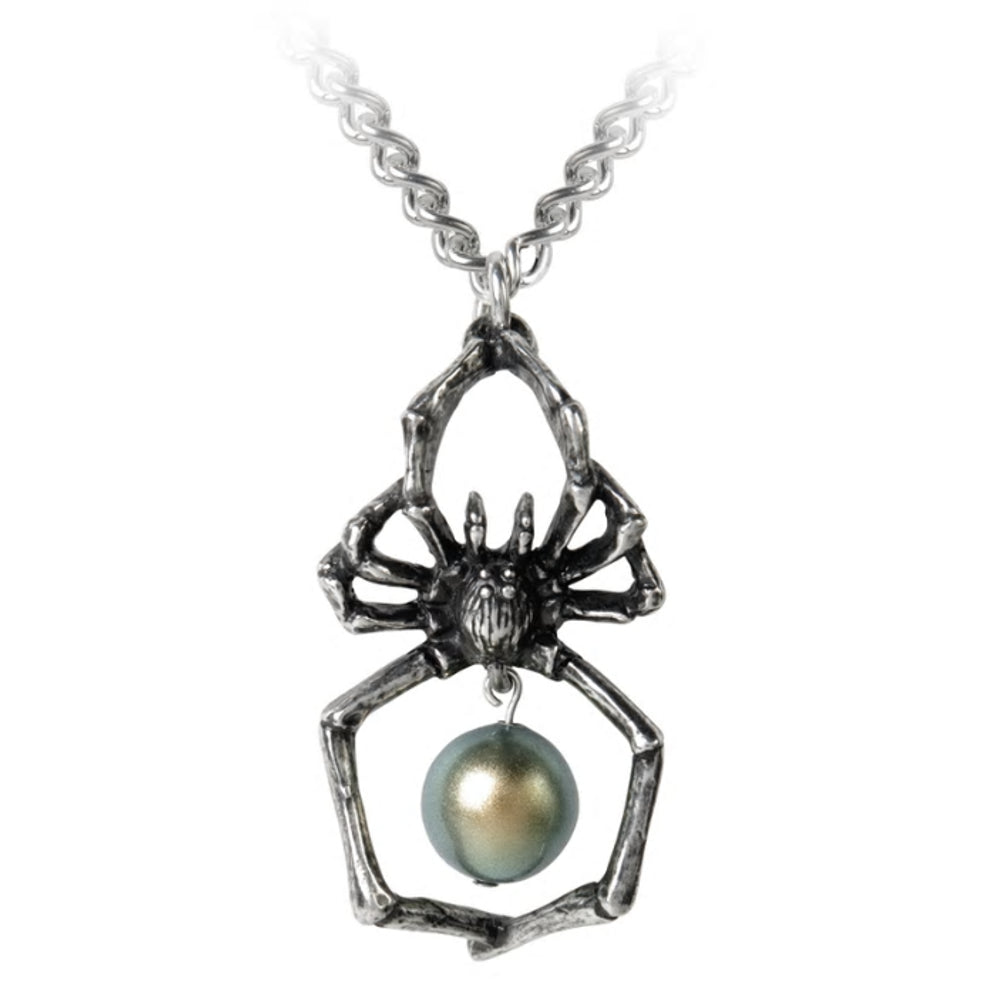 Glistercreep Spider Pearl Necklace by Alchemy Gothic