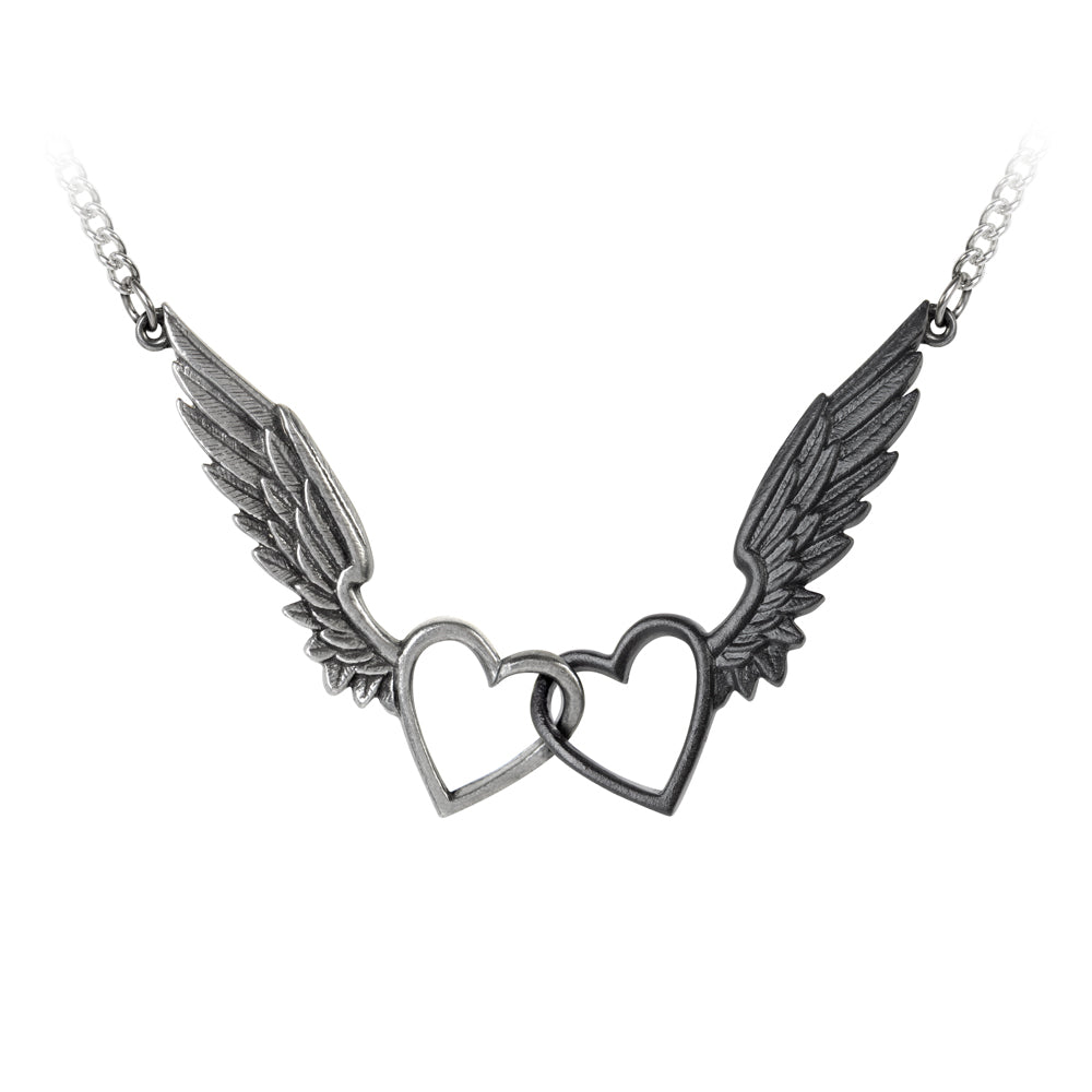 Passio: Wings Of Love Necklace, Linked Winged Hearts by Alchemy Gothic