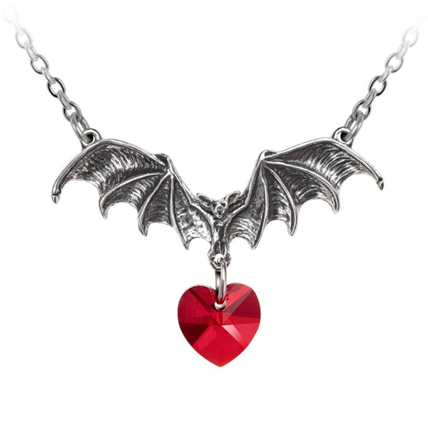 Vampire Loveheart Bat Heart Pendant Necklace by Alchemy Gothic