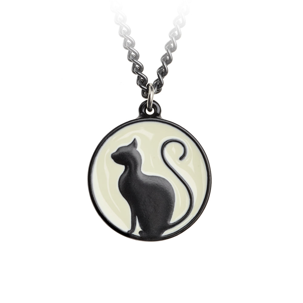 Meow at the Moon Pendant Black Cat Necklace by Alchemy Gothic