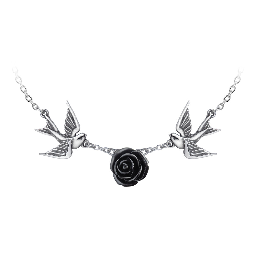 Love Returns Necklace Swallow & Black Rose Pendant, Alchemy Gothic