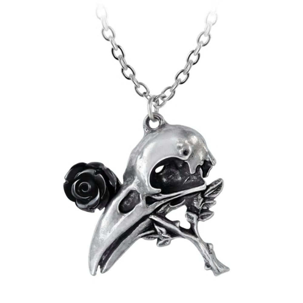 Quietus Black Rose Raven Skull Pendant Necklace by Alchemy Gothic