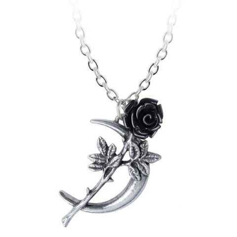 New Romance Pendant Black Rose Crescent Moon Necklace by Alchemy Gothic