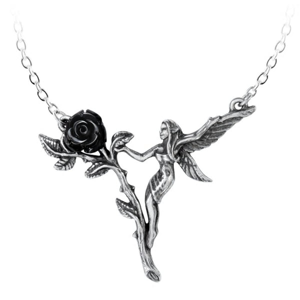 Faerie Glade Fairy Black Rose Necklace by Alchemy Gothic