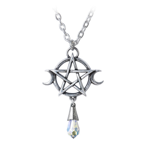 Goddess Pendant Wiccan Pentagram Crystal Alchemy Gothic Necklace