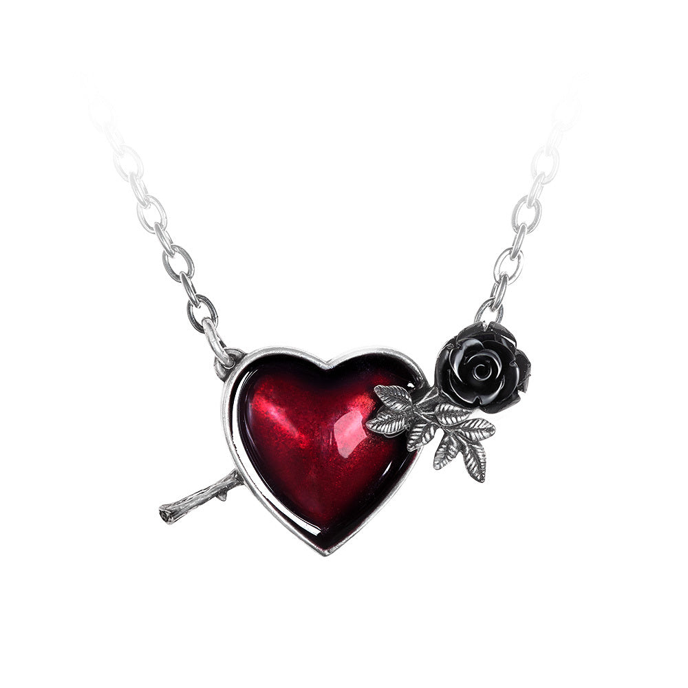 Wounded By Love Rose Heart Necklace by Alchemy Gothic