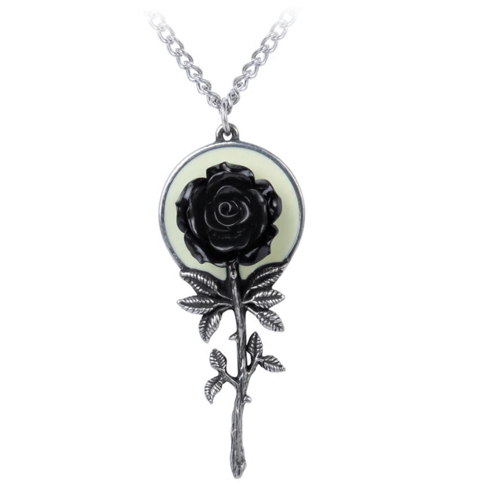 Luna Black Rose Moon Pendant Necklace by Alchemy Gothic