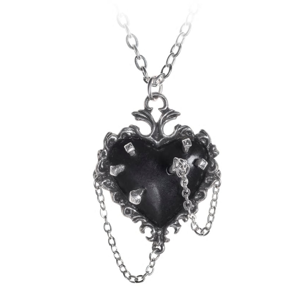 Witches Black Heart Pendant Necklace by Alchemy Gothic