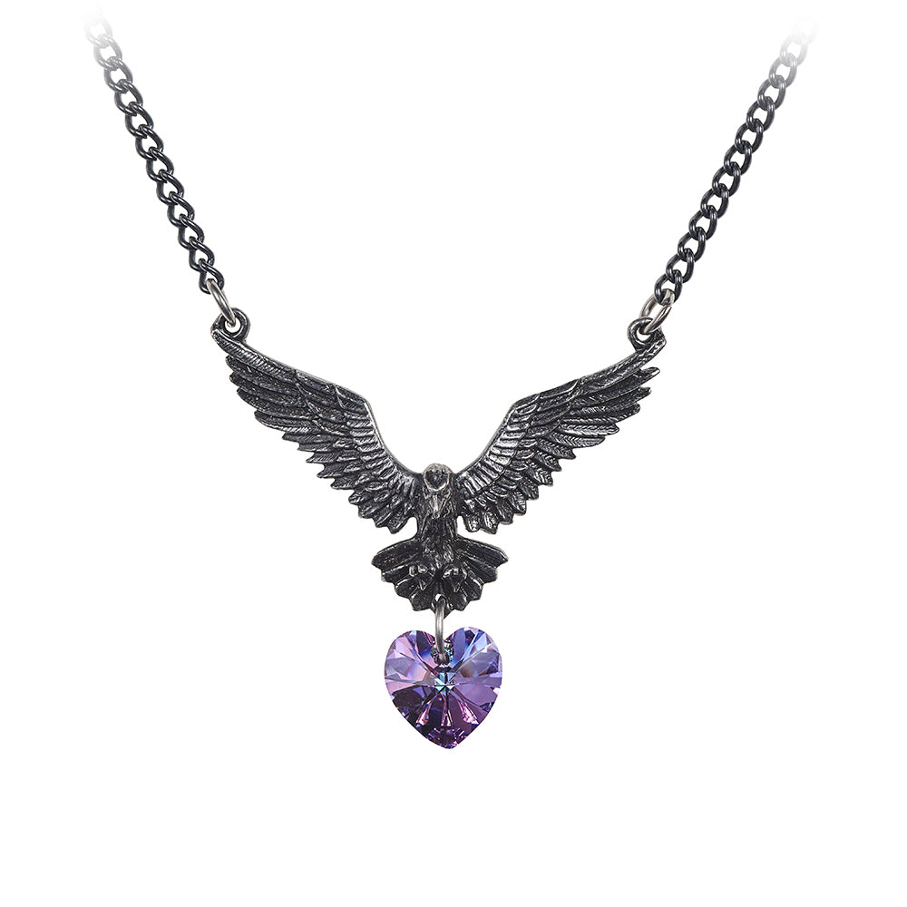 77a4f39f8a2f Hamingja Necklace Happiness Raven Bird Heart Crystal by Alchemy Gothic