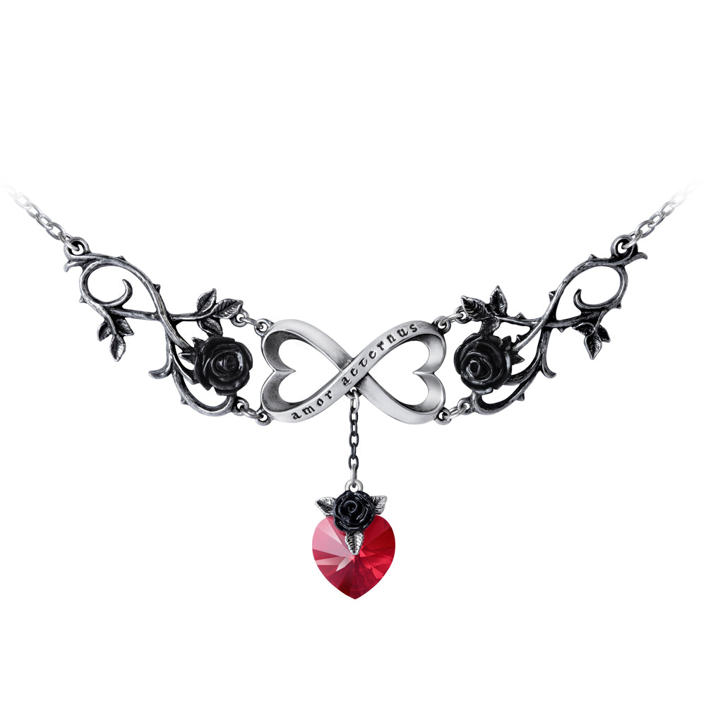 Infinite Love Necklace with Black Roses & Red Crystal Heart, Alchemy Gothic