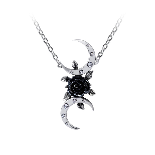 The Black Goddess Necklace Rose & Crescent Moons Pendant by Alchemy Gothic