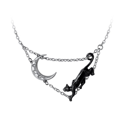 Minnaloushe Necklace Black Cat Moon by Alchemy Gothic