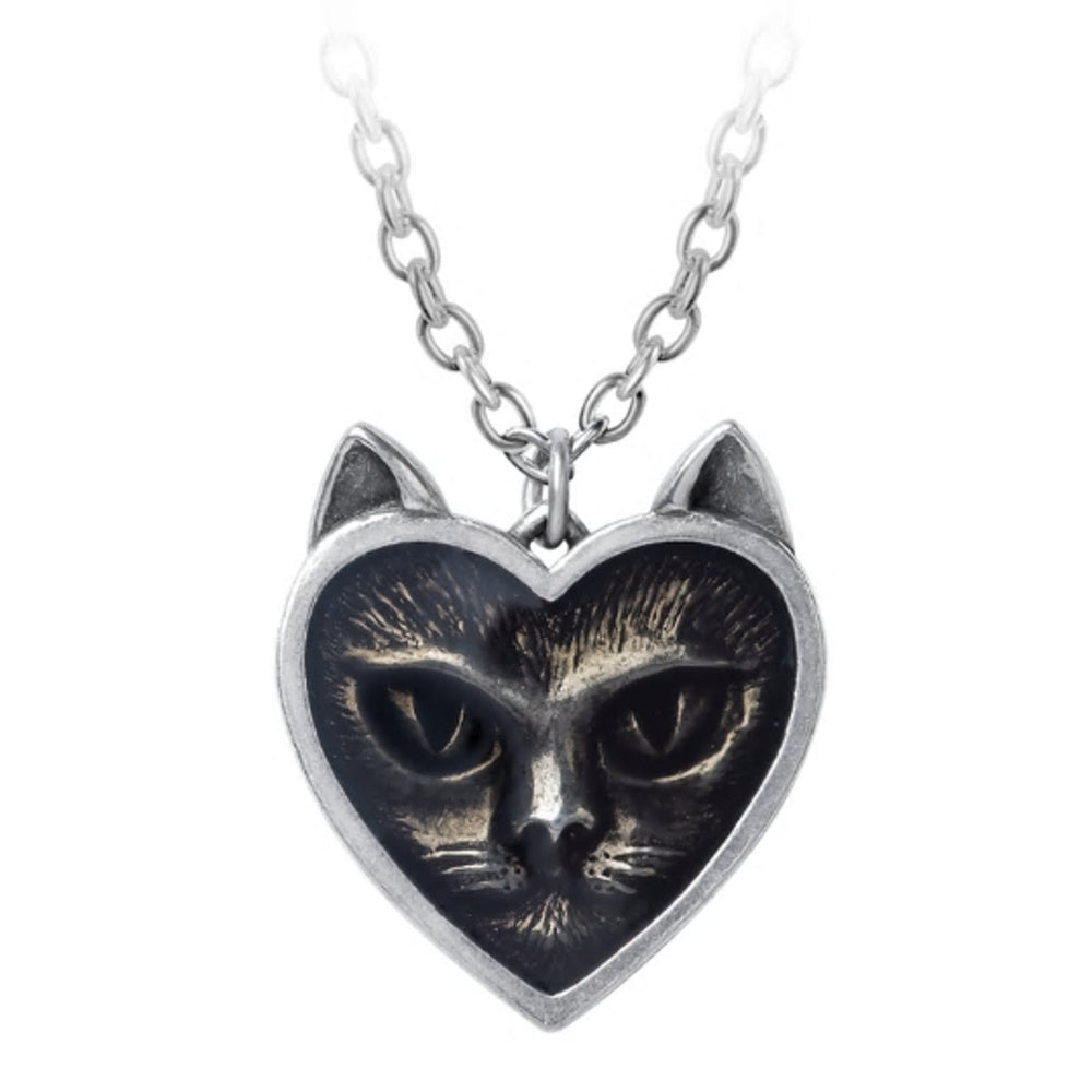 Love Cat Pendant Heart Necklace by Alchemy Gothic