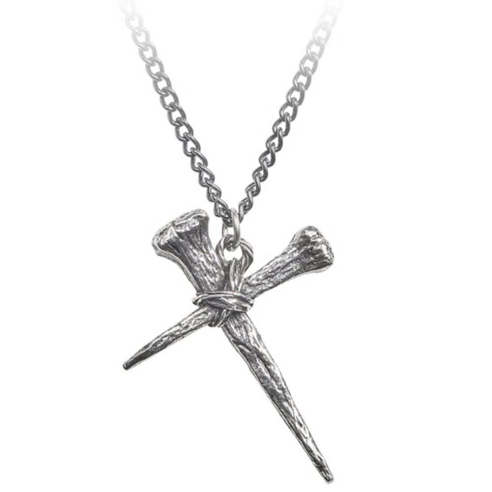 Resurrection Pendant Wrapped Cross Nails Necklace by Alchemy Gothic