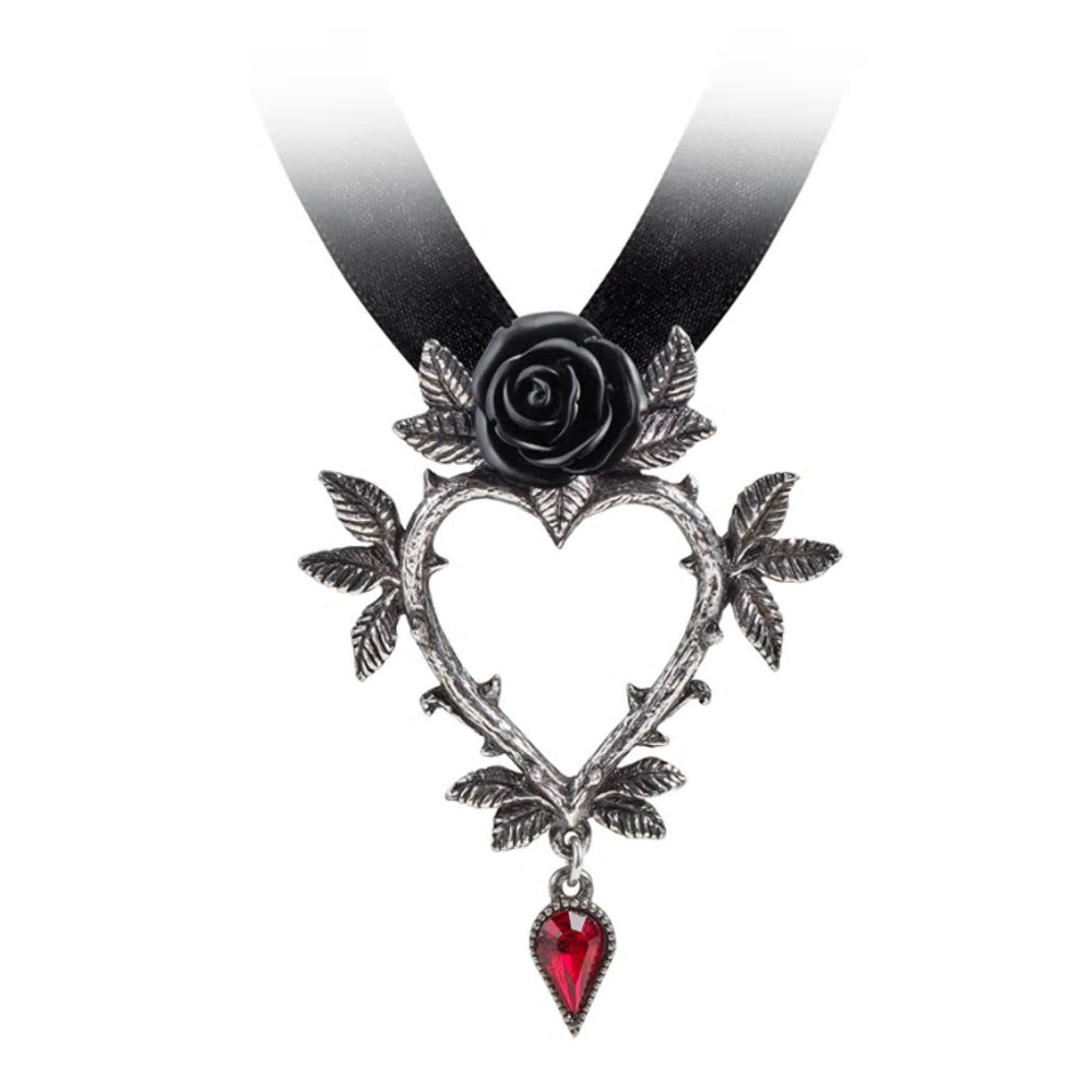 Guirlande d'Amour Black Rose Heart Alchemy Gothic Necklace