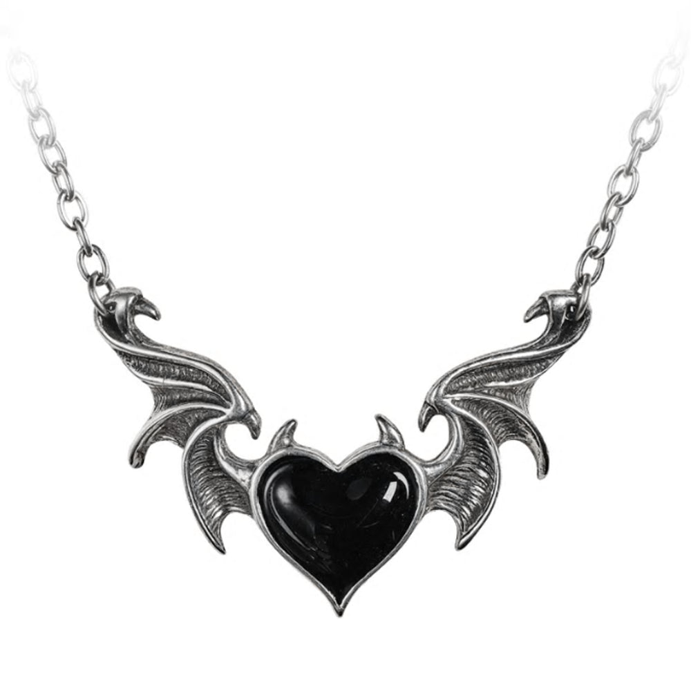 Blacksoul Winged Black Heart Necklace by Alchemy Gothic