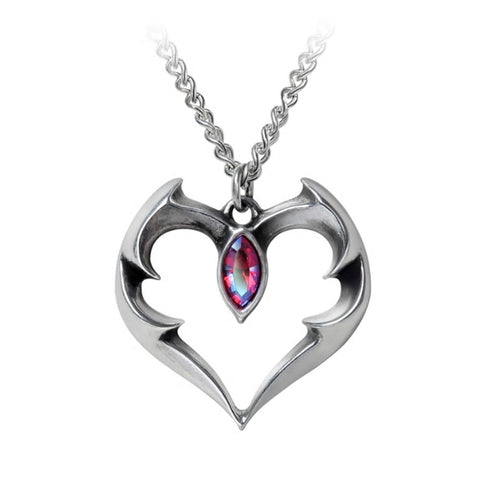 Batheart Crystal Bat Heart Pendant Necklace by Alchemy Gothic