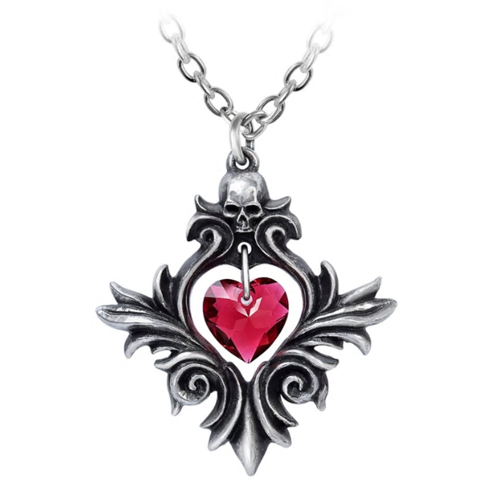 Bouquet of Love Crystal Heart Pendant Necklace by Alchemy Gothic