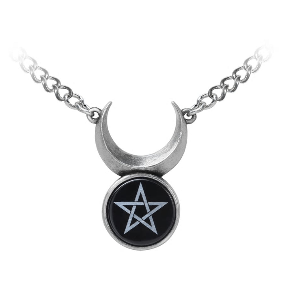 Sin-Horned God Pendant Crescent Moon Pentagram Necklace by Alchemy Gothic