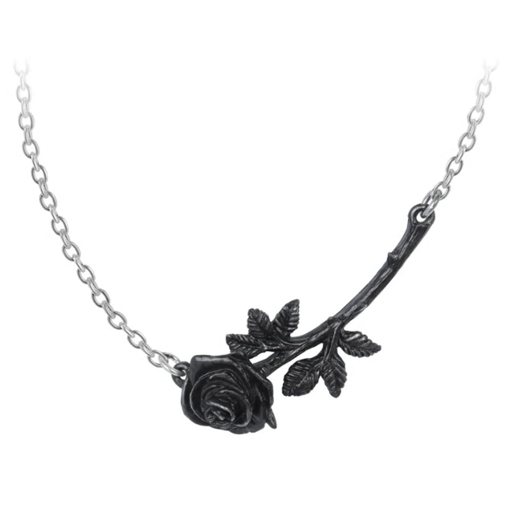 Black Thorn Rose Pendant Necklace by Alchemy Gothic