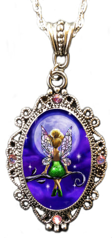 Alkemie Tinkerbell Fairy/Pixie Cameo Pendant Necklace