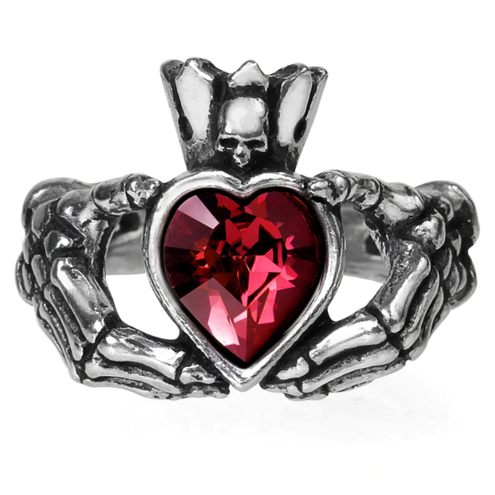 Claddagh By Night Red Crystal Heart Ring by Alchemy Gothic