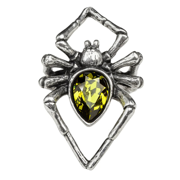 Emerald Venom Crystal Spider Ring by Alchemy Gothic