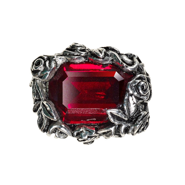 Blood Rose Red Crystal Ring by Alchemy Gothic