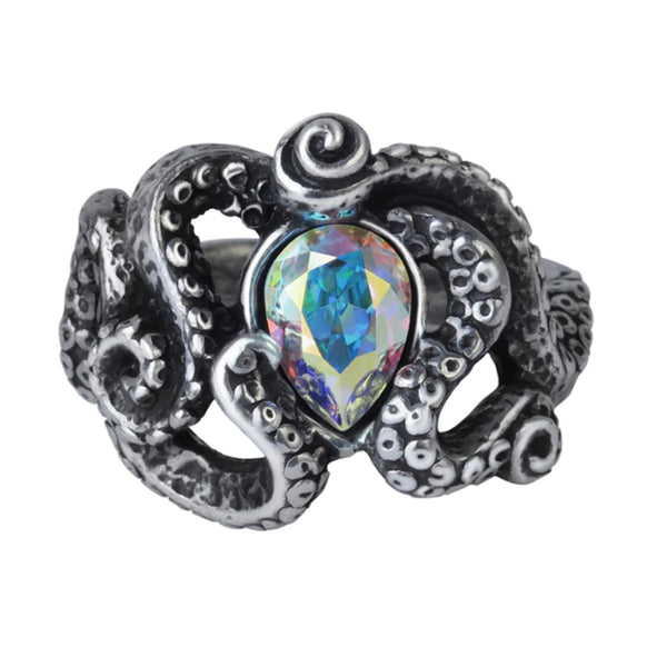 Cthulhu Crystal Tentacle Ring by Alchemy Gothic
