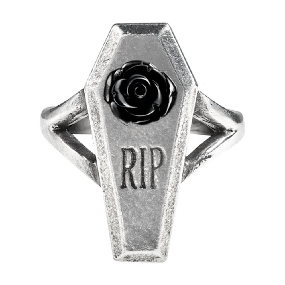 RIP Black Rose Coffin Ring by Alchemy Gothic