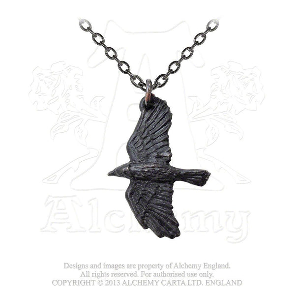 Ravenine Black Raven Pendant Necklace by Alchemy Gothic